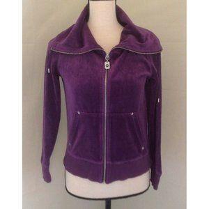 Michael Kors Zip Sweatshirt Sz S Purple Velour
